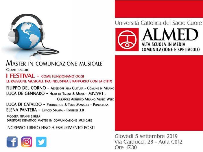 """""""Come funzionano i festival': la lezione aperta del Master in Comunicazione Musicale"""